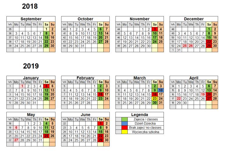 Kalendarz Zajęć Szkolnych